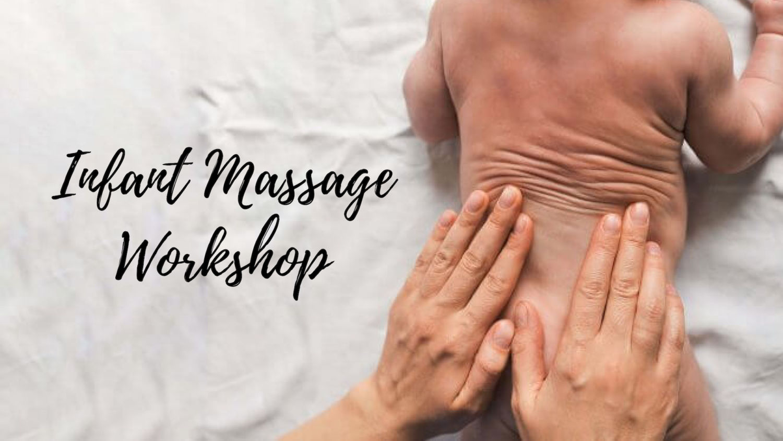 parents hands giving infant massage