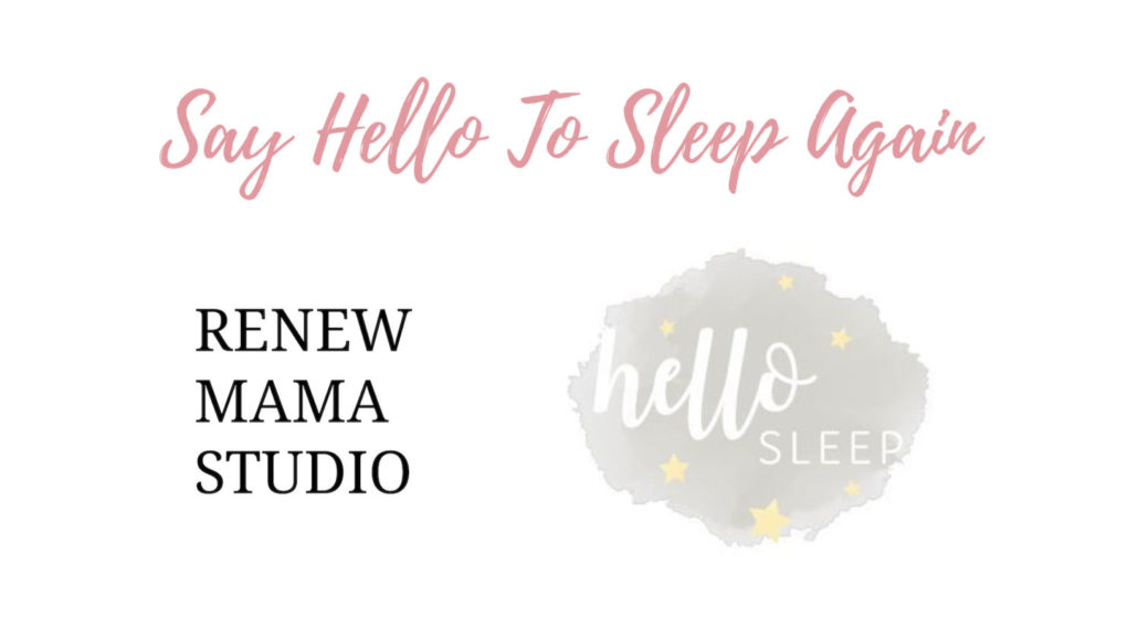 hello sleep and renew mama studio logos