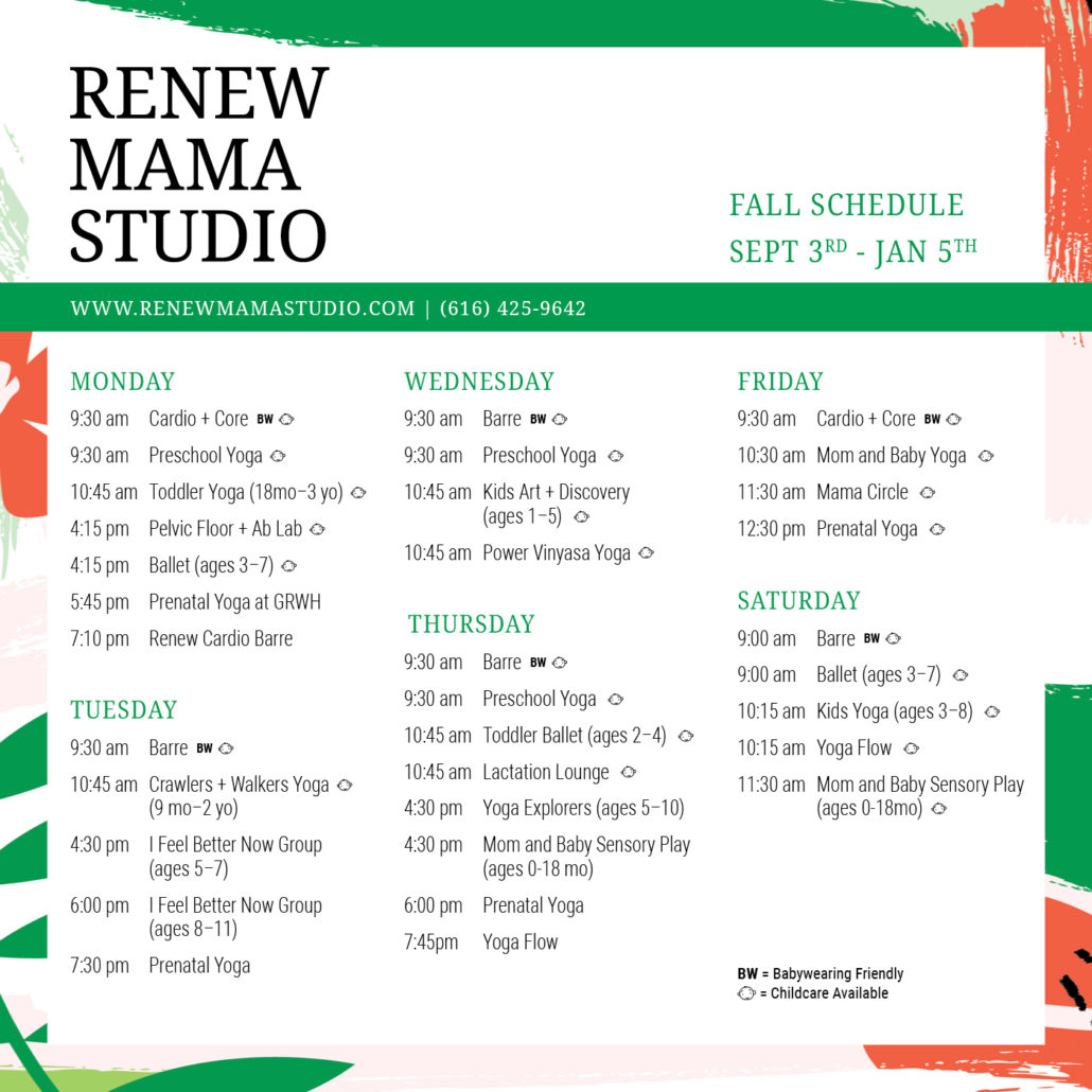 workout class schedule for Renew Mama Studio